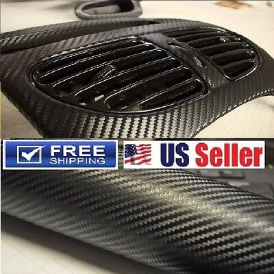 "4D Premium Glossy Carbon Fiber Vinyl Wrap Film Sticker """"BUBBLE FREE"""" 12""x60"""