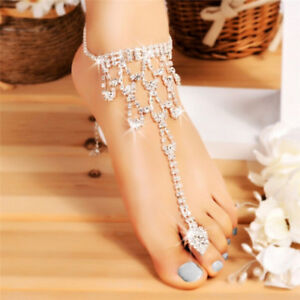 Crystal Barefoot Sandals Beach Chain Anklet Wedding Foot Anklet Women  Jewelry HK b4e6178fe5b8