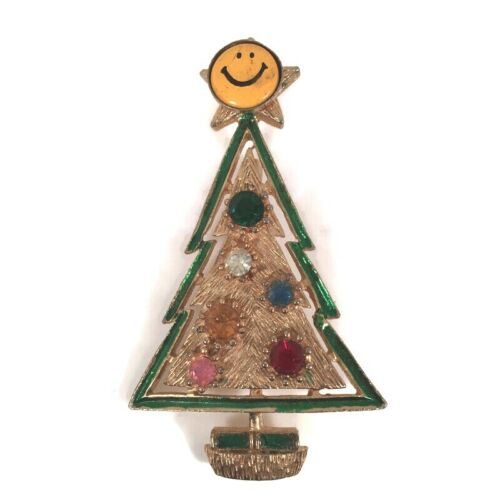 "Vintage Yellow Happy Smiley Face Christmas Tree Brooch Pin Rhinestones 2-3/4"""