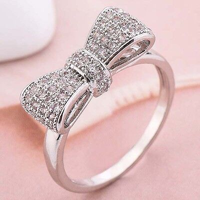 Ring - Women Fashion 925 Silver White Sapphire Bow Ring Wedding Engagement Jewelry