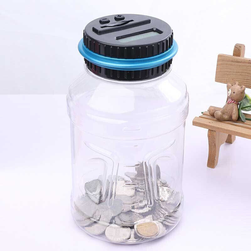 Electronic LCD Digital Coin Counter Money Counting Jar Saving Bottle Piggy Bank