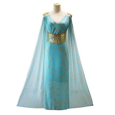 Game of Thrones Cosplay Kostüm von Daenerys Targaryen Kleid mit Umhang Blau 2XL