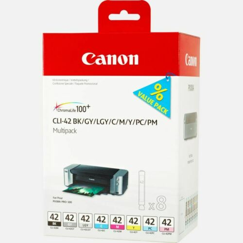 Canon CLI-42 8 PK Value Pack Ink, 8 Pack for PIXMA PRO-100 Original (6384B007)