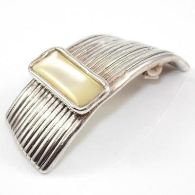 Bat Ami Sterling Silver Electroform Modernist MOP Pendant Pin Brooch