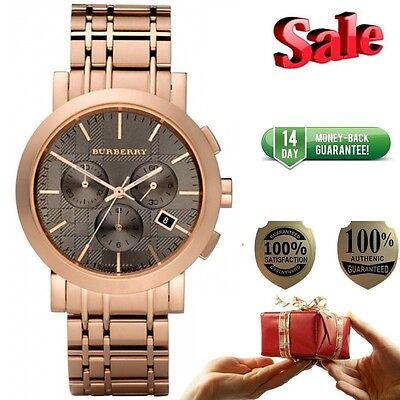 100  Authentic New Burberry Bu1862 Mens Chronograph Rose Gold Watch  On Sale