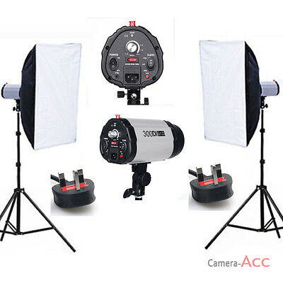 Studio Flash Lighting Kit Photography Strobe + Light stand + Softbox Portrait UK