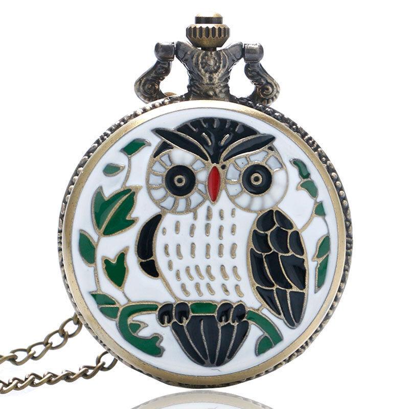 Vintage Retro Nigh Owl Quartz Pocket Watch Men Women Pendant Necklace Chain