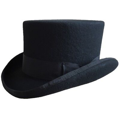 Low Short Top Hat Wool Felt Cylinder Hat Stove pipe Hat Topper 4 1/2 Crown