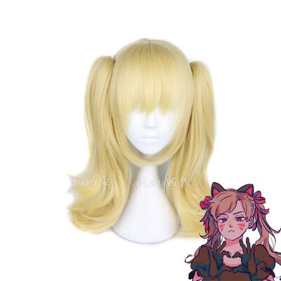 Overwatch OW D.va DVA Black Cat 2 Clip Ponytails Light Blonde Cosplay Wig Hair