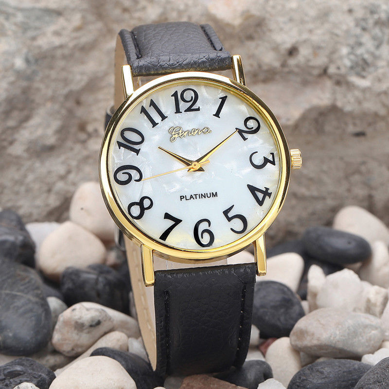 $13.99 - Geneva Luxury White Black Leather Stainless Men Women Quartz Dress Fashion Watch