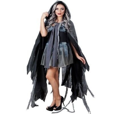 Fetzenkutte grau 150 cm - Halloween Kostüm Umhang Kutte Cape Fetzen Hexe