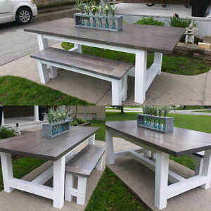Indoor/Outdoor Farmhouse Style Dining Table and Bench Combo