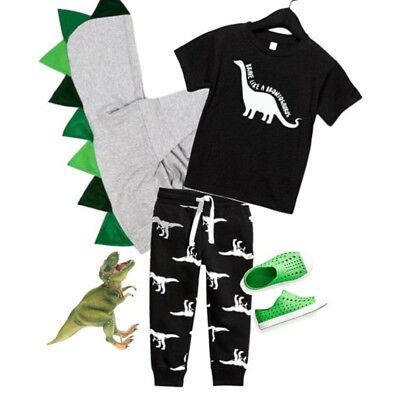 US Toddler Kid Baby Boy Short Sleeve Tops T-shirt Dinosaur Pants Outfit Clothes - Childrens Dinosaur Outfit