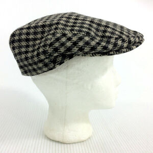 Newsboy Flat Cab Cabbie Driving Ivy Gatsby 100% Wool Black White