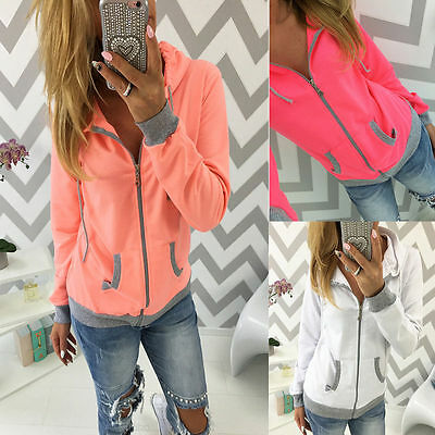 Women's Hoodie Sweatshirt Jumper Zip Up Hooded Jacket Casual
