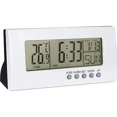 New Light Silver Color Home Office Desk Digital ALARM CLOCK Calendar Thermometer