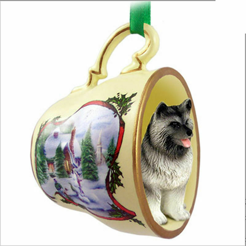 Keeshond Christmas Teacup Ornament