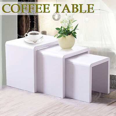 New High Gloss Glass Nest of Coffee Table Side Table Living Room Furniture White