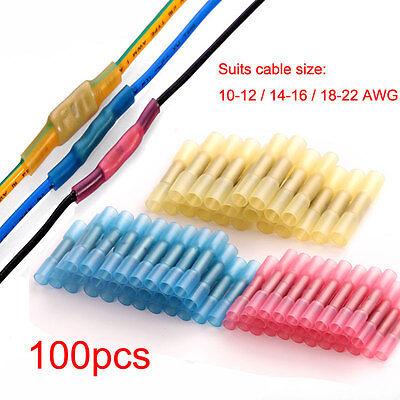100PCS Heat Shrink Insulated Butt Wire Crimp Connectors Terminals 0.5-6.0mm Set
