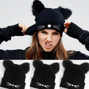 34f48e7b721 Women Cat Ear Warm Winter Knitted Beanie Crochet Braided Knit Ski Wool Hat  Cap