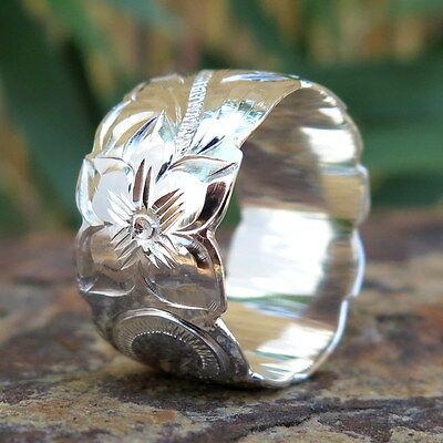 (Hawaiian Jewelry Sterling Silver Scroll Flower Wedding Ring Band 12mm SR1231)