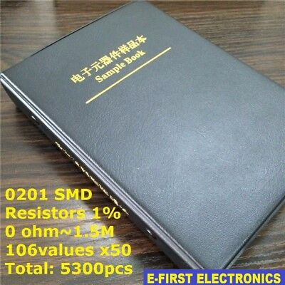 0201 1 Smd Smt Chip Resistors Sample Book Assorted Kit 106values X50 Assortment