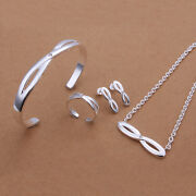 Silver Necklace Bracelet Earring Set