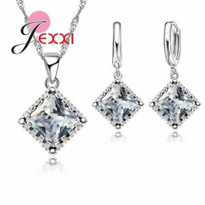 925 Sterling Silver Chain Square CZ Pendant Necklace Drop Earrin