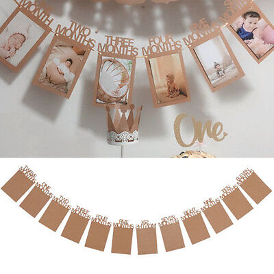 Baby's 1st Birthday Party Photo Garland Frame Shower Bunting Banner Home Decor