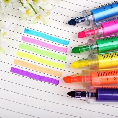 6pcs Tube Syringe Highlighter Marker Nite Writer Pen Cute Stationery Needle New