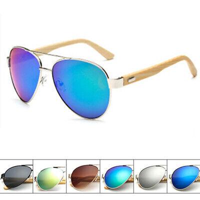 Damen-Herren-Sonnenbrille Pilotenbrille Klassische Holz Übergroße Bambus Bein Kd