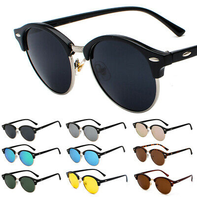 Vintage Retro Polarized Half Frame Sunglasses Men Women's Horn Rim Round (Retro Half Frame Sunglasses)