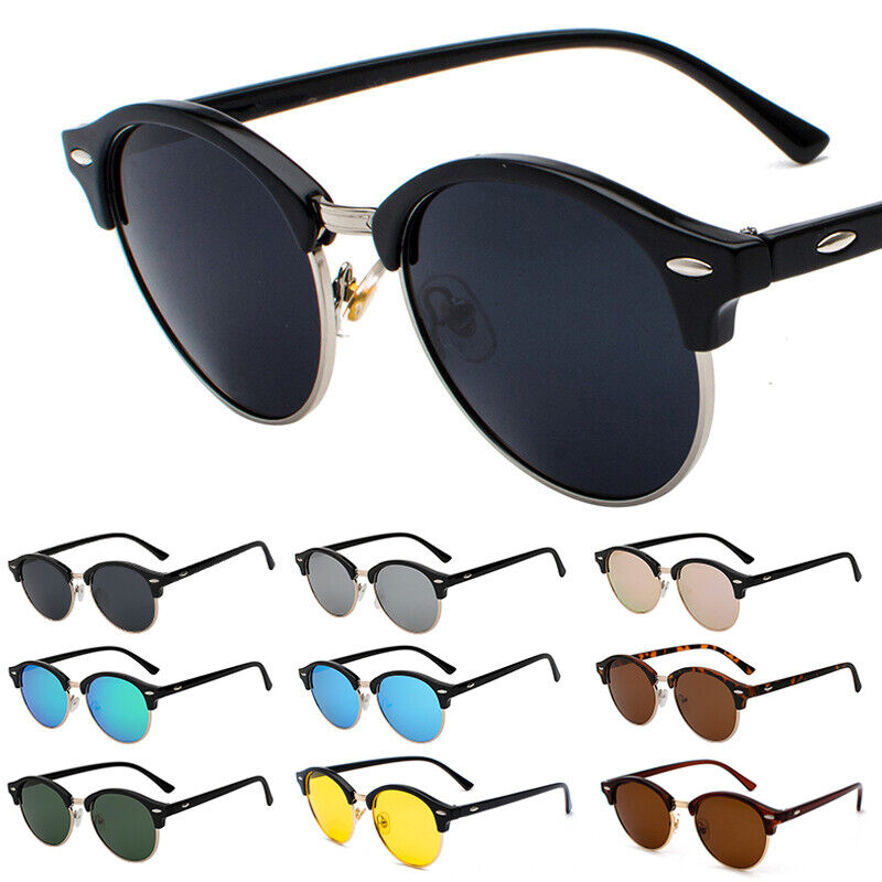 Polarisiert Sonnenbrille Retro Vintage Brille Hälfte Rahmen Hippie Rundbrille HD