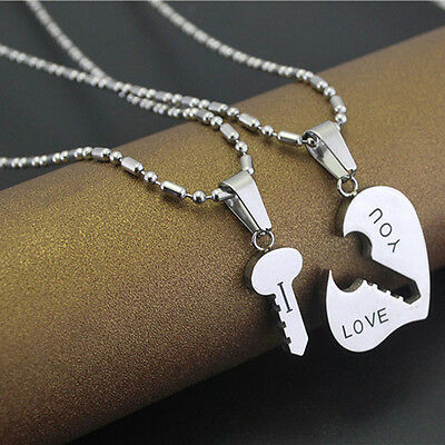 Cute Best I Love You Couple Lover Matching Key Hearts Pendant Necklaces