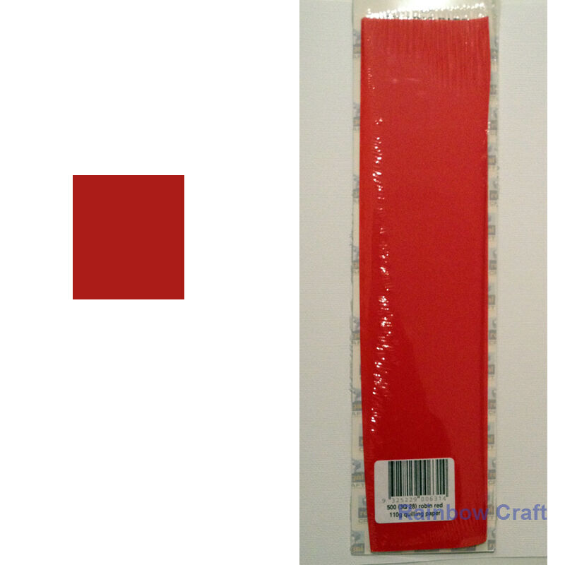 500 Strips 3mm Quilling Paper (110GSM) 8 multicolor & 27 single colors /U select - Robin Red