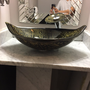 Waterfall Vessel, Faucet and Marble Countertop Vanity-80% off