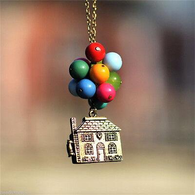 4h Antik (Haus mit Ballons Up Film Kette Anhänger Halskette Antikes Geburtstagsgeschenk 4H)