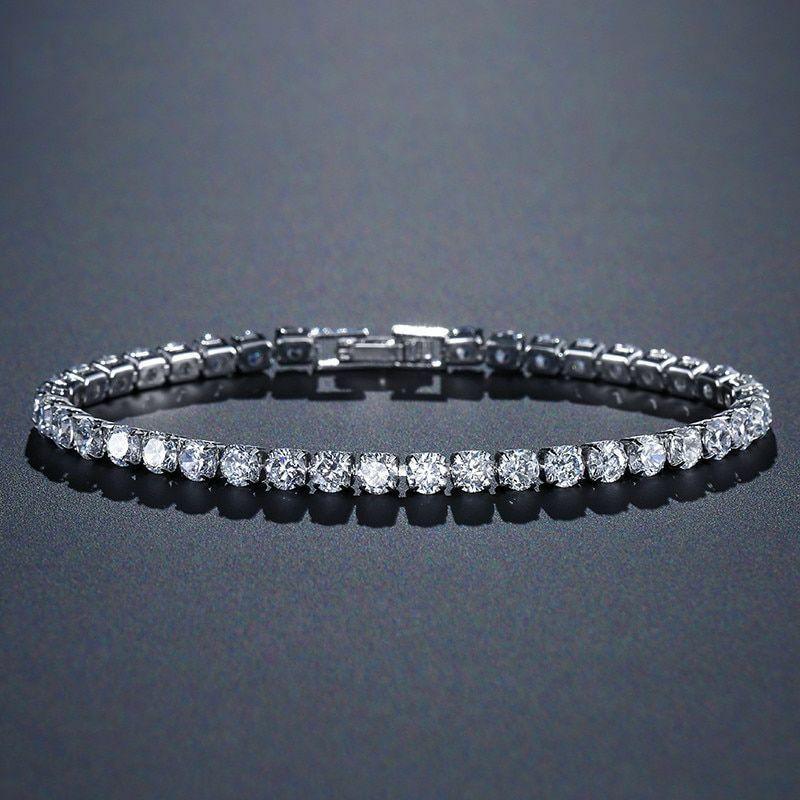 925 Sterling Silver Tennis Bracelet Bangle 4mm For Women Wedding Fashion Jewelry