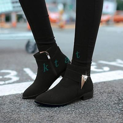 Suede Goth Boots Shoes - Gothic Womens Round Toe Ankle Boots Zipper  Boots Suede Pointed Toe Shoes
