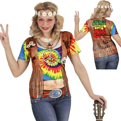 70er Jahre Polyester Shirt (HIPPIE 3D SHIRT Damen Kostüm Top Flower Power  60er 70er Jahre Party 9868)