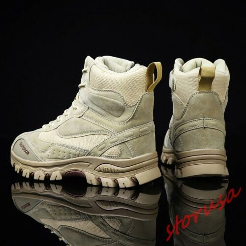 Men Outdoor desert Ankle Boots Side Tactical Combat Boots Hiking Shoes Size 6-12
