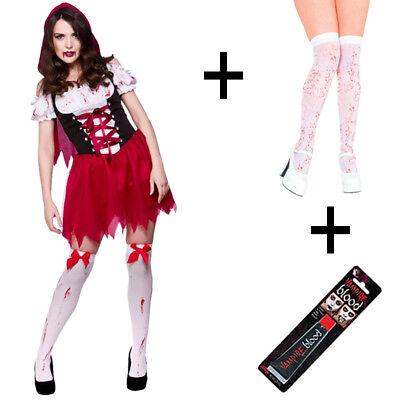 Little Dead Riding Hood Zombie Ladies Fancy Dress Halloween Costume + Stockings - Little Dead Riding Hood Halloween Costumes