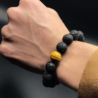 12MM Black Volcanic Lava Stone & Tiger Eye Beaded Charm Oil Diffuser Bracelets