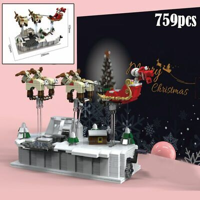 Christmas Balloon Ship Santa Claus lego Village Train City Creator Mini Building ()