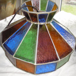 Vintage Hand Made Stained Glass Hanging Light Fixture