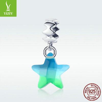 Crystal Star Charm Bracelet - 925 Sterling Silver Crystal Pendant Fresh Star Charm Bead For Bracelet Necklace