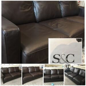 S&C Genuine Leather Brown  3 Seater Sofa (Steven and Chris)