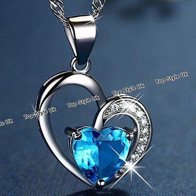 Blue Crystal Diamond Heart Silver Necklace Gifts for Girlfriend Women Mum GF F1