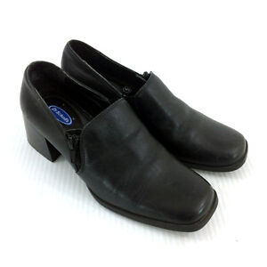 Womens Black Pumps Dr Scholls Block Heel Dress Shoes Square Toe