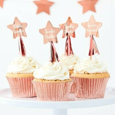 ROSE GOLD STAR CUPCAKE TOPPERS WITH TASSELS - TWINKLE TWINKLE, Baby shower, 1st